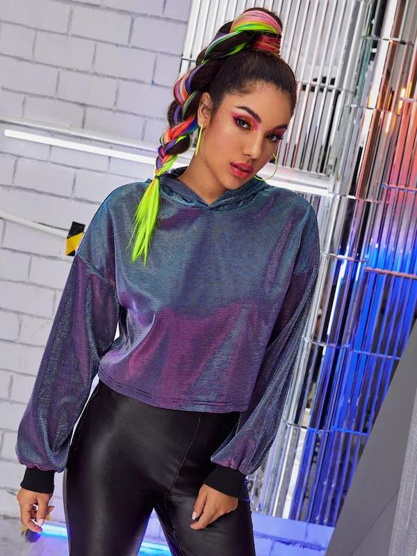 Drop Shoulder Sparkly Glitter Crop Hoodie