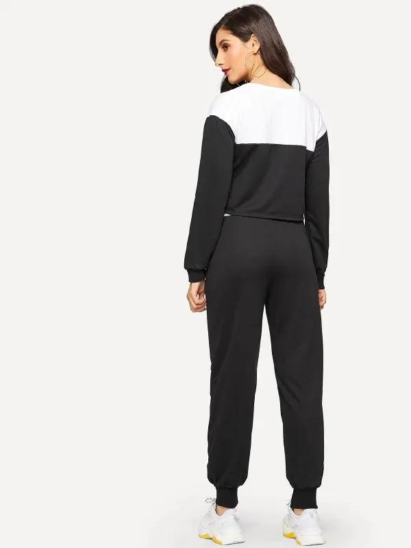 Drop Shoulder Sweatshirt & Drawstring Waist Sweatpants