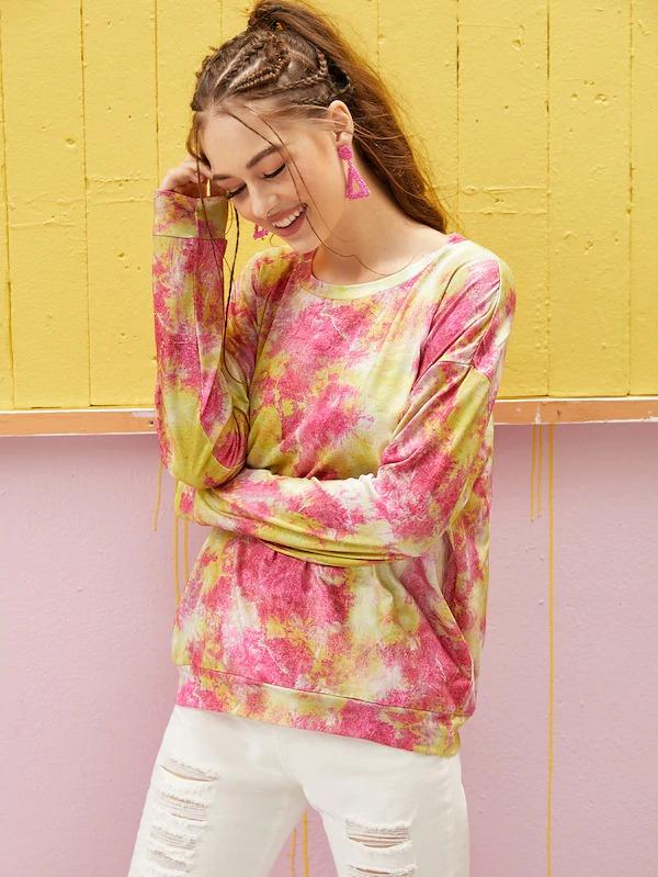 Drop Shoulder Tie Dye Sweatshirt