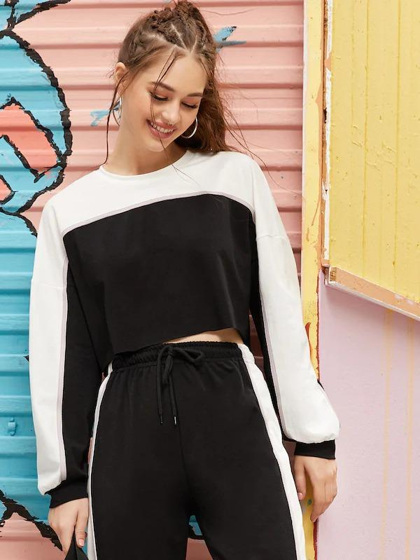 Drop Shoulder Two Tone Crop Sweatshirt