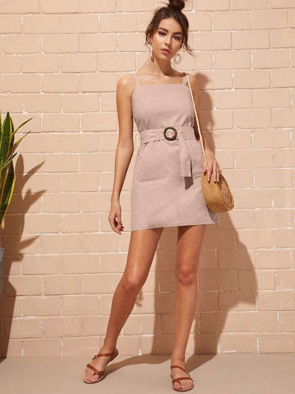 Dual Pocket Belted Cami Dress