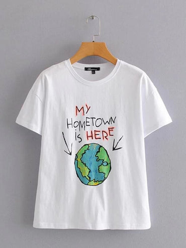 Women Earth & Slogan Graphic Tee