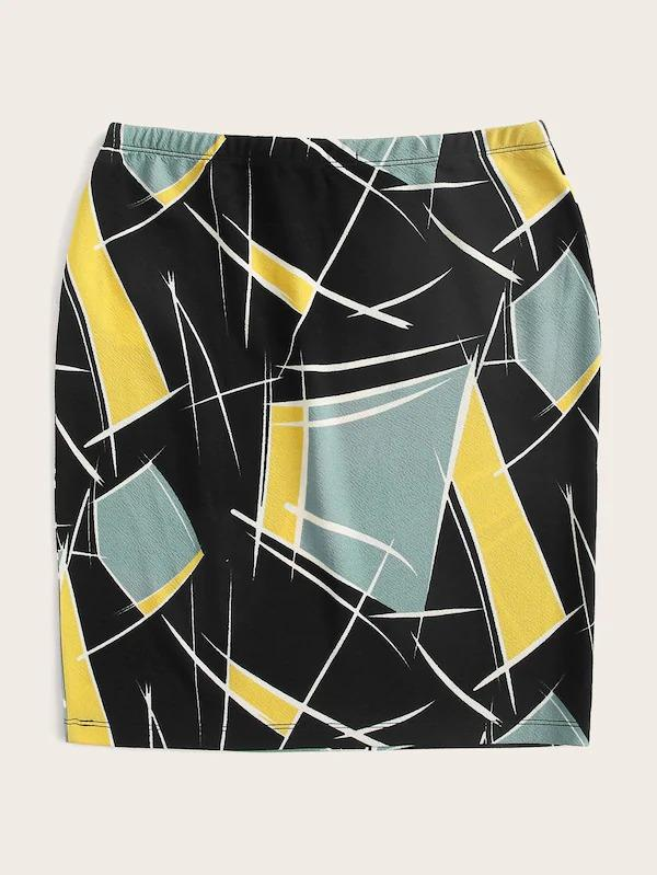 Elastic Waist Color Block Skirt