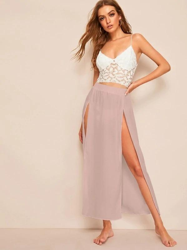 Elastic Waist High Split Front Skirt