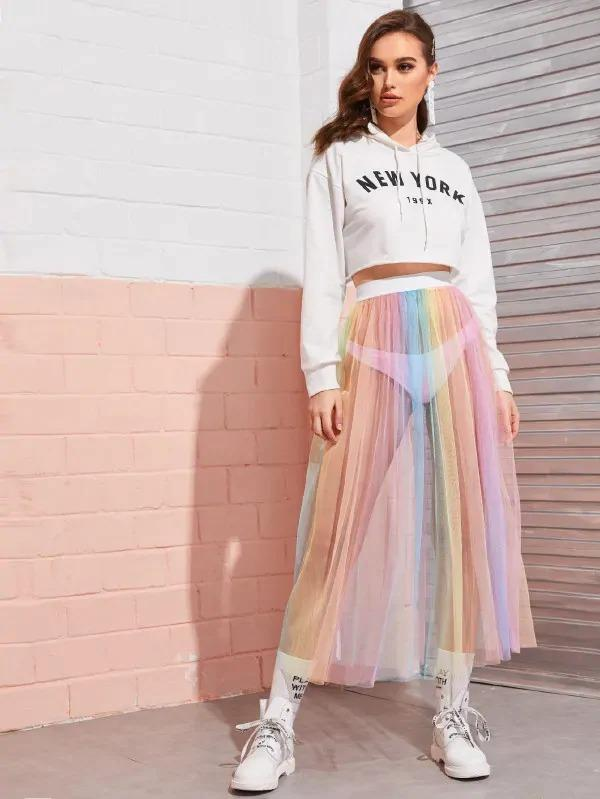Elastic Waist Mesh Rainbow Sheer Skirt