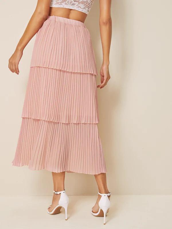 Elastic Waist Pleated Layered Skirt