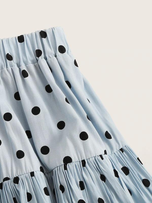 Elastic Waist Polka Dot Layer Ruffle Skirt