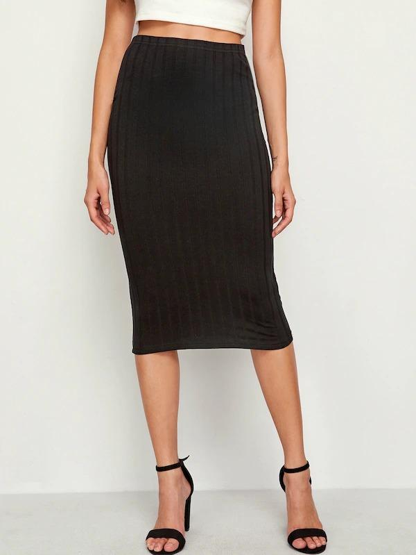 Elastic Waist Rib-Knit Pencil Skirt