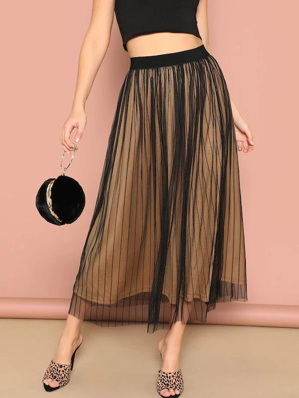 Elastic Waist Striped Mesh Overlay Skirt