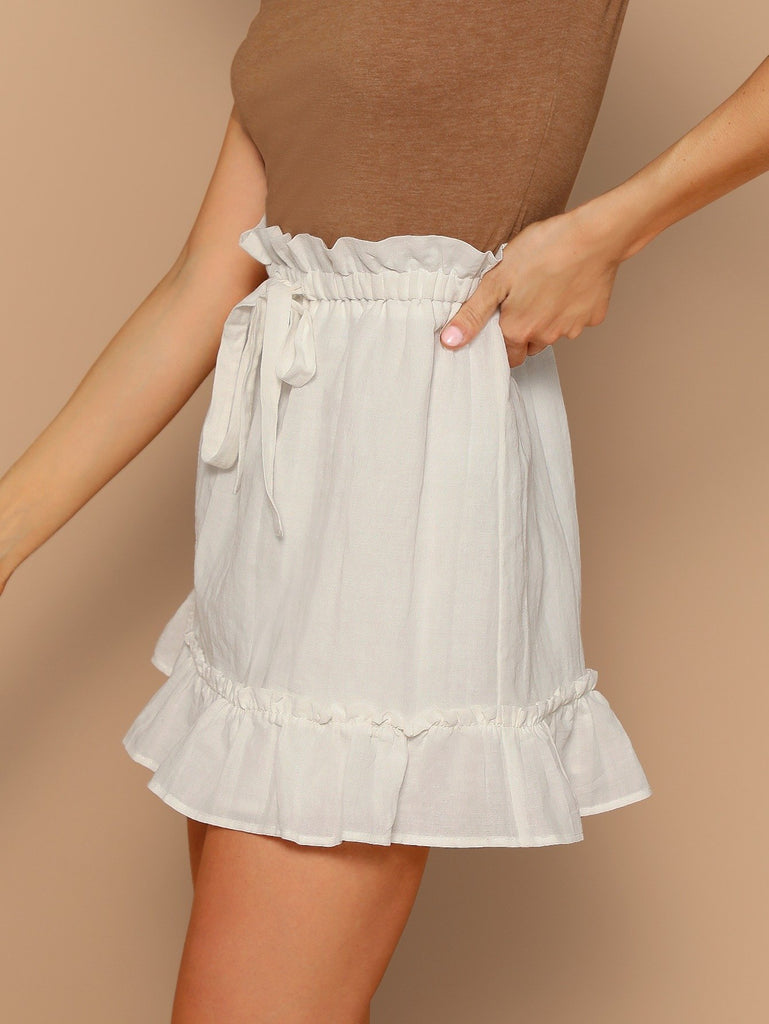 Elastic Waist Tie Ruffle Trim Mini Skirt