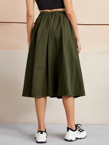Women Elastic Waist Flap Pocket Front Skirt