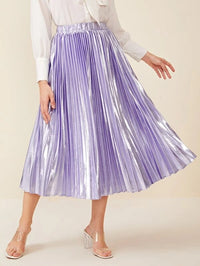 Women Elastic Waist Pleated Metallic Skirt