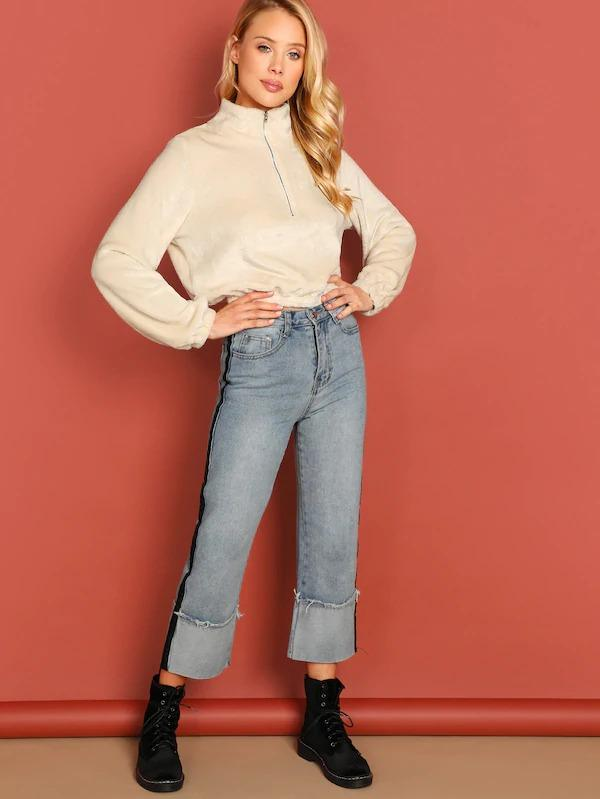 Elastic Cuff And Hem Crop Sweatshirt