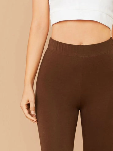Elastic Waist Solid Leggings