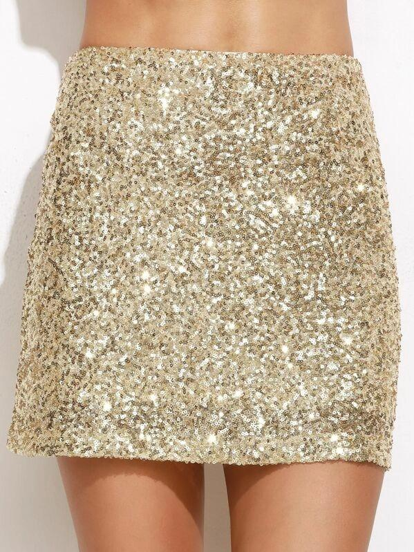 Embroidered Sequin Mini Skirt