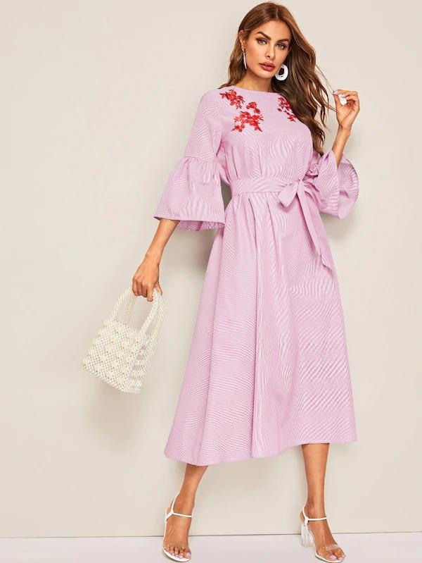 Embroidered Detail Bell Sleeve Striped Dress