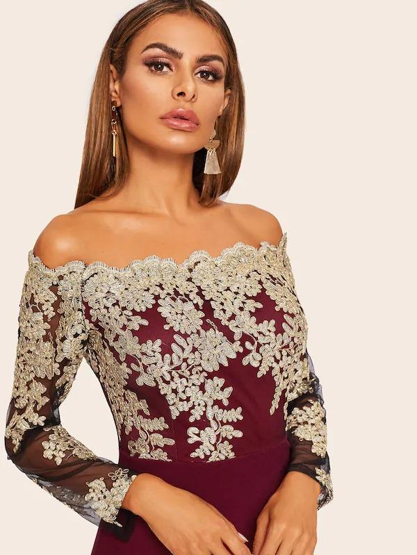 Embroidered Mesh Bodice Bardot Dress