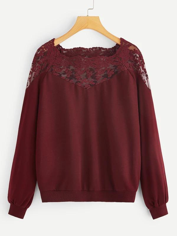 Embroidered Mesh Yoke Raglan Sleeve Sweatshirt