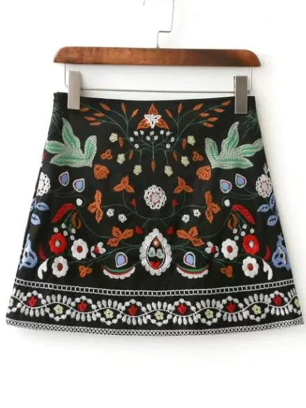 Embroidery Mini Skirt