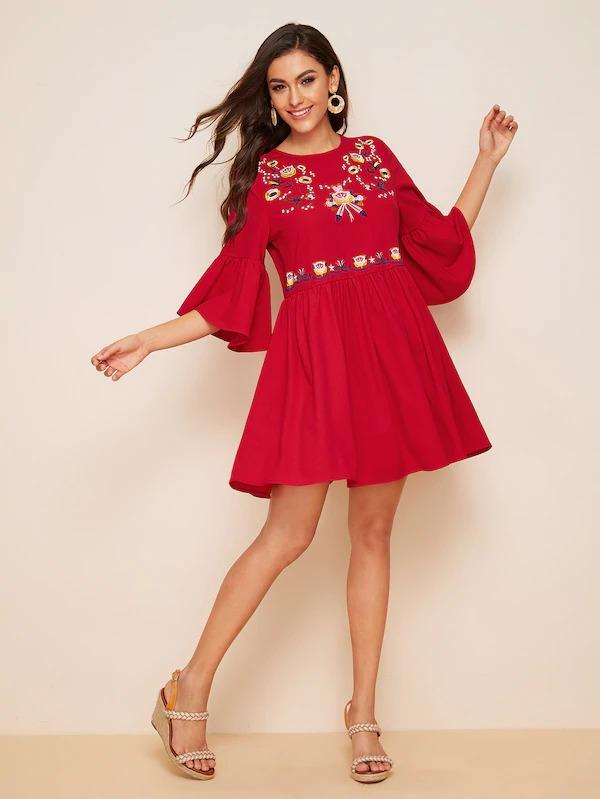 Embroidery Detail Flounce Sleeve Flare Dress
