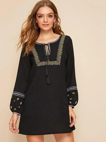 Embroidery Tassel Tie Peasant Dress