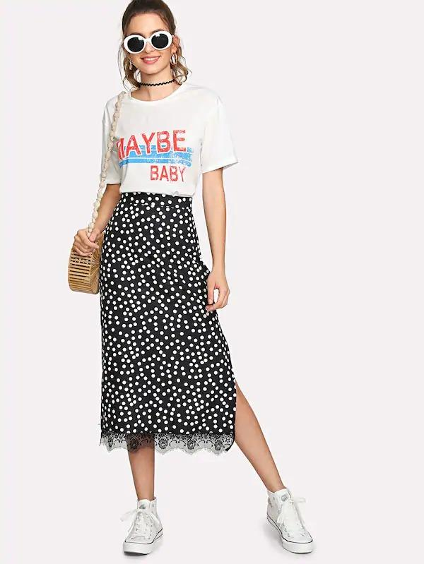 Eyelash Lace Hem Split Skirt