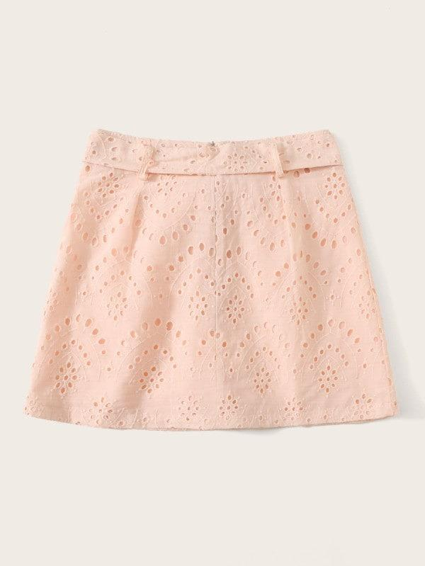 Eyelet Embroidered Button Belted Skirt