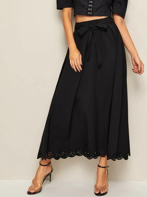 Eyelet Embroidered Hem Belted Maxi Dress