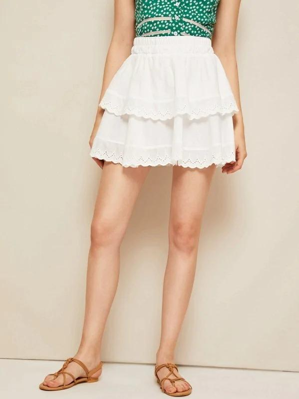 Eyelet Embroidery Tiered Hem Skirt