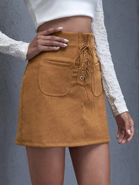 Women Eyelet Lace Up Knot Patch Pocket Skirt