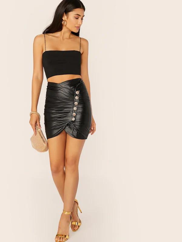 Faux Leather Pleated Button Detail Mini Skirt