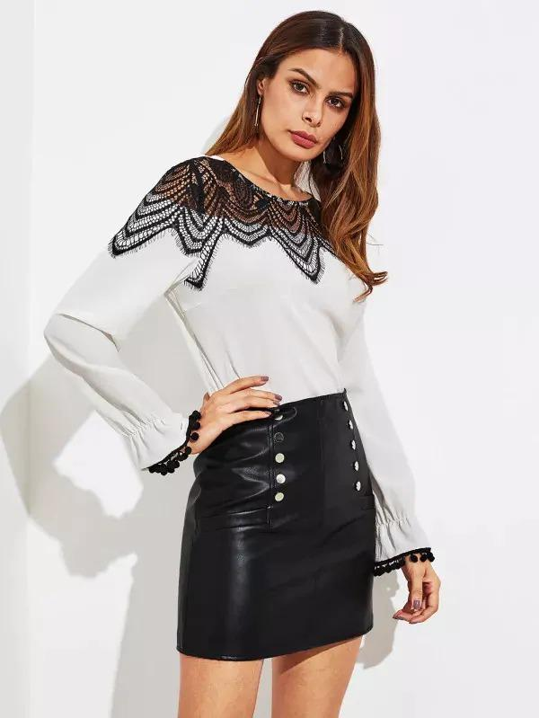 Faux Leather Zip Back Skirt