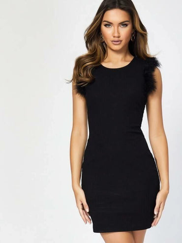Faux Feather Solid Rib-Knit Dress
