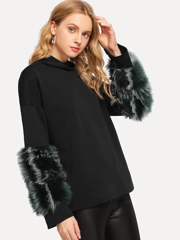 Faux Fur Contrast Solid Pullover