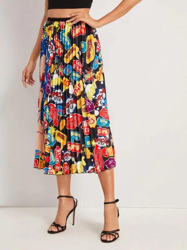 Figure & Letter Print Pleated Skirt