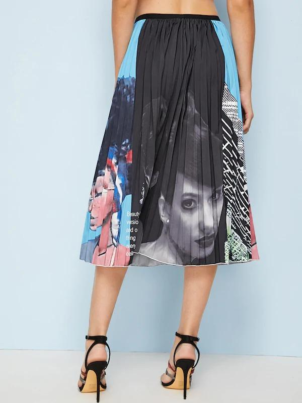 Figure Print Colorblock Pleated Skirt