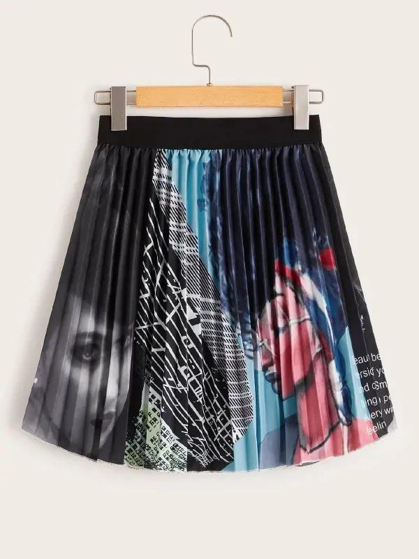 Figure Print Pleated Skirt