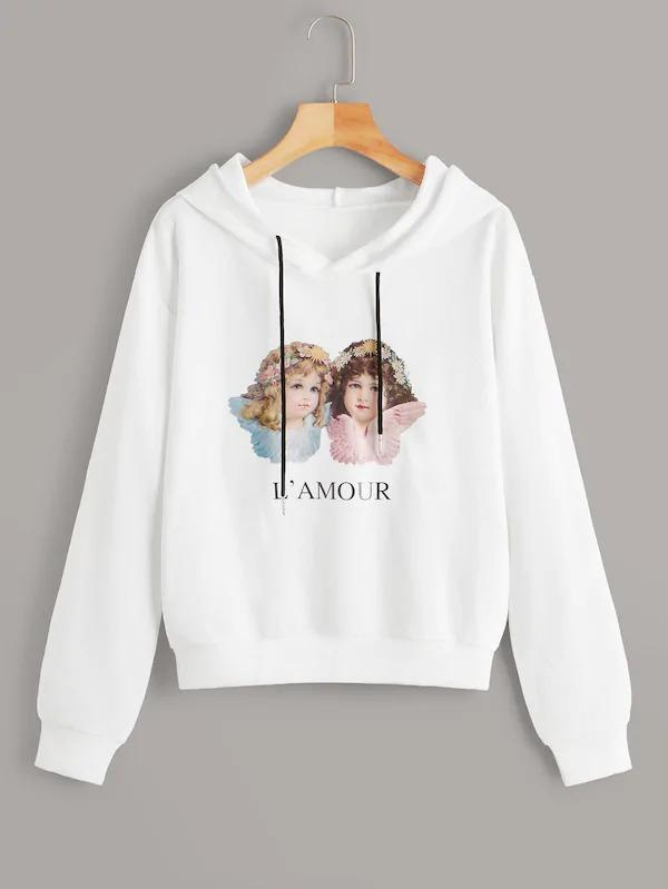 Figure And Letter Print Drawstring Hooded Sweatshirt