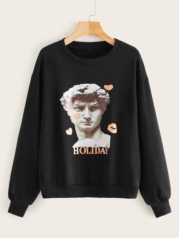 Figure And Letter Print Sweatshirt