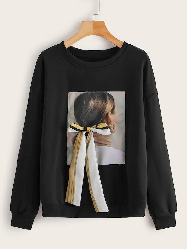 Figure Patch Tie Front Sweatshirt