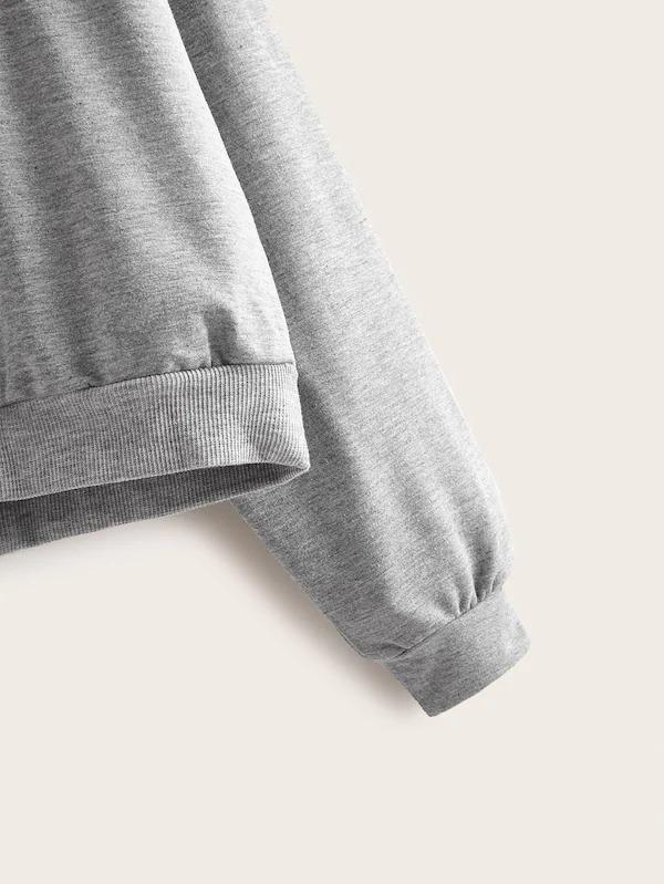 Figure Patched Drop Shoulder Sweatshirt