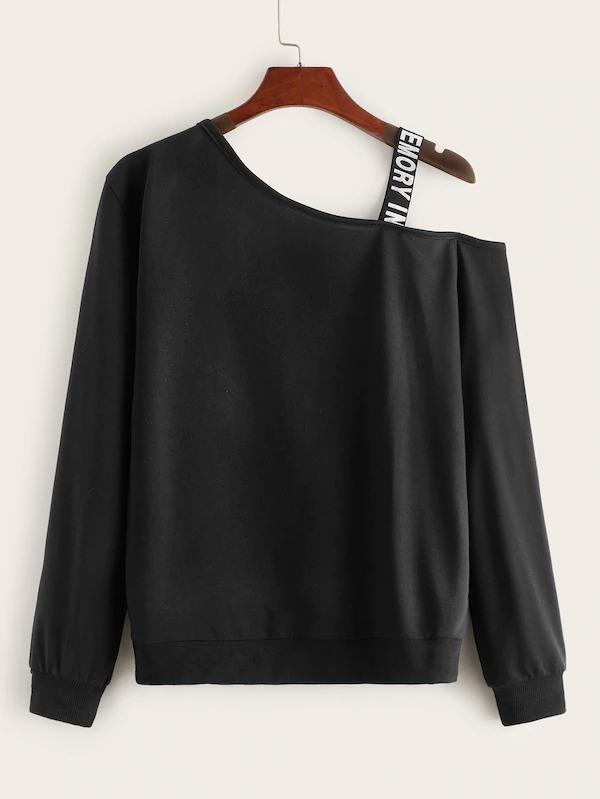 Figure Print Bow Front Tape Contrast Sweatshirt