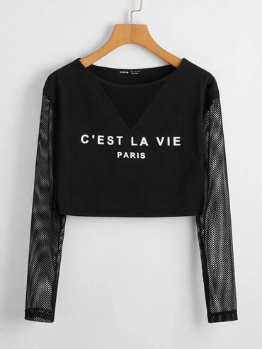 Women Fishnet Sleeve Letter Graphic Crop Tee