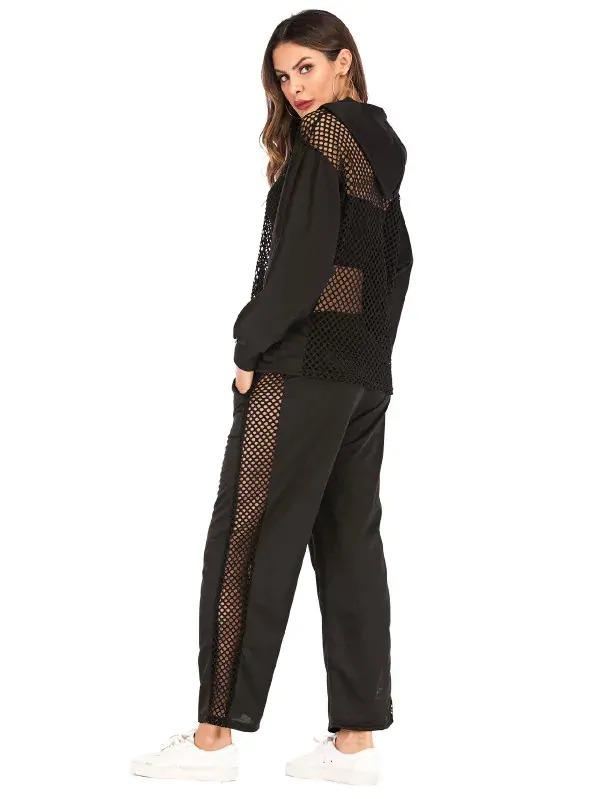 Fishnet Drawstring Hooded Sweatshirt With Pants
