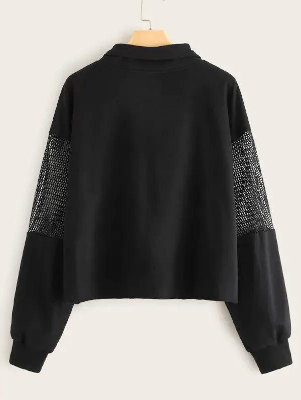 Fishnet Mesh Insert Zip Half Placket Drawstring Sweatshirt