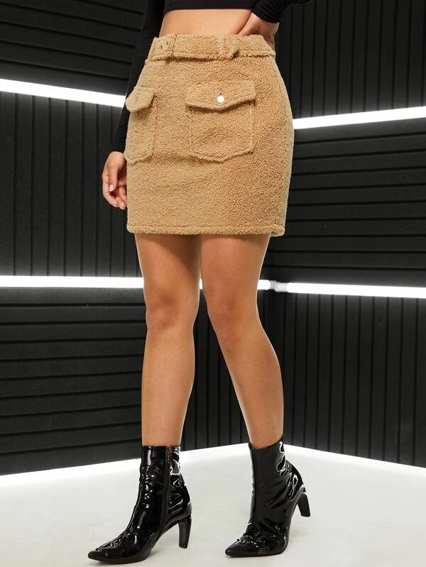 Flap Detail Belted Teddy Skirt