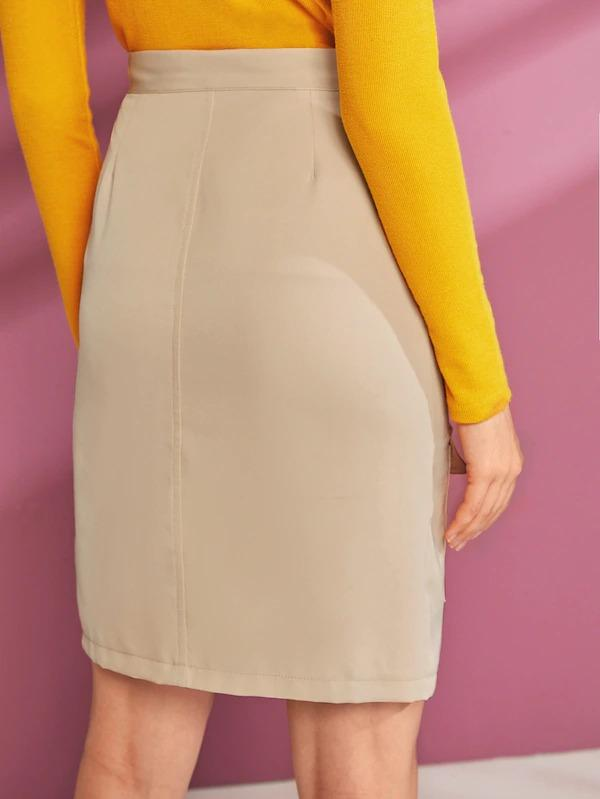 Flap Pocket Split Hem Cargo Skirt