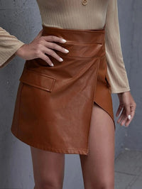 Women Flap Detail PU Wrap Skirt