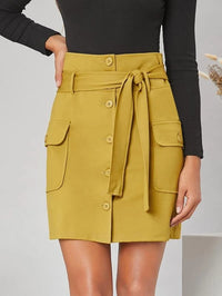 Women Flap Pocket Side Button Up Self Belted Skirt