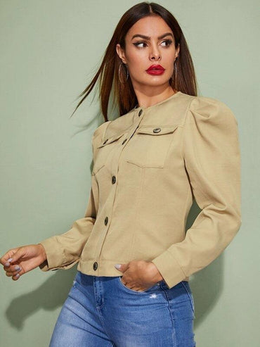 Flap Pocket Front Puff Sleeve Jacket